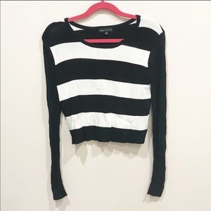 Mesh Black and White Long Sleeve Mesh Top